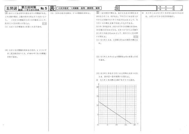 17⑩四問選No.5表